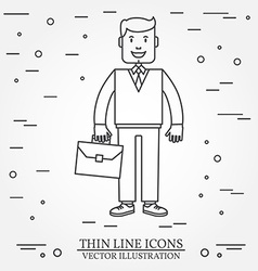 Businessman with briefcase thin line icon For web vector image