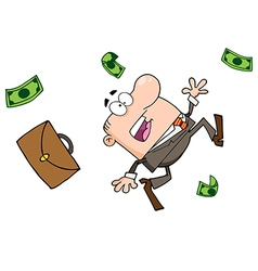 Frightened Failed Businessman Goes Down vector image vector image