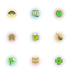 Holiday saint patrick day icons set pop-art style vector