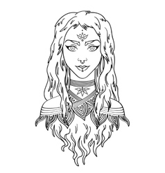 Stylish beautiful young girl with long curly hair vector image vector image