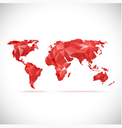 World Map polygonal precision low-poly red vector image