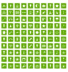 100 light icons set grunge green vector image