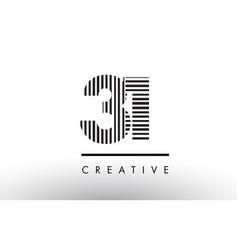31 black and white lines number logo design vector