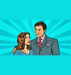 a couple of businessman and businesswoman vector image