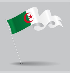 Algerian pin wavy flag vector
