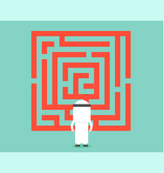 arab businessman look at labyrinth analyzed and vector image