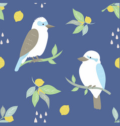 beach tropical seamless pattern with kookaburra vector image