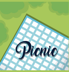 blue tablecloth for picnic vector image