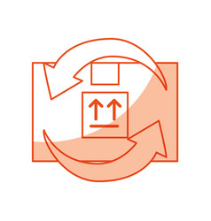 Box carton with arrows delivery icon vector