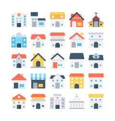 Building colored icons 3 vector