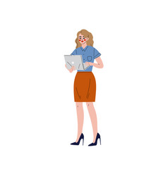 business woman working with laptop office vector image