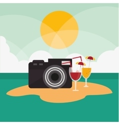 Camera of travel and tourism concept vector