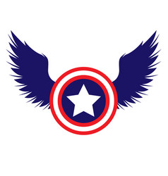 captain america shield with wings color vector image