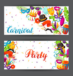 Carnival party banners with celebration icons vector