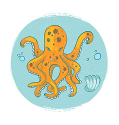 cartoon character octopus emblem grunge vector image