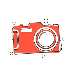 cartoon photo camera icon in comic style vector image