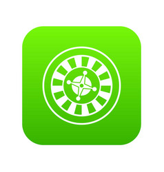 casino gambling roulette icon digital green vector image