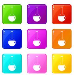 Chemical beaker icons 9 set vector