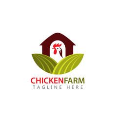 Chicken farm logo template design vector