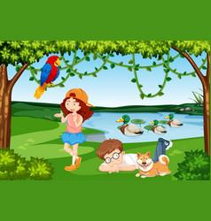 Children and animals wood scene vector