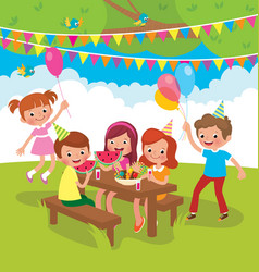 children birthday party outdoors vector image