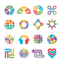 circle logo shapes community group recycling vector image