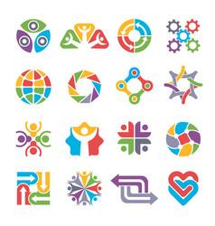 Circle logo shapes community group recycling vector