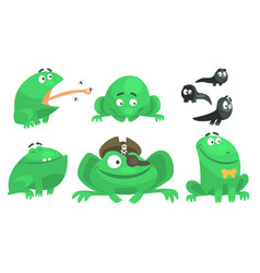 collection green frog with various emotions vector image