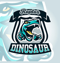 Colourful emblem logo dangerous raptor ready to vector