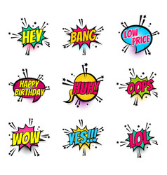 comic text speech bubble pop art set vector image