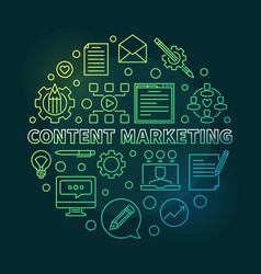content marketing round green linear vector image