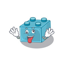 Cute sneaky lego brick toys cartoon character vector