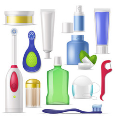 dental hygiene toothbrush and toothpaste vector image