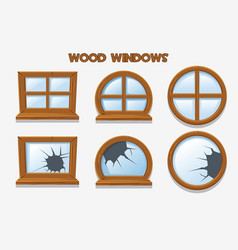 Different shape and old shattered wood windows vector