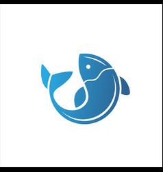 fish logo fresh seafood logo template design vector image