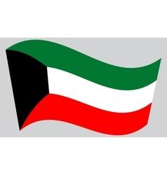 Flag of Kuwait waving on gray background vector image