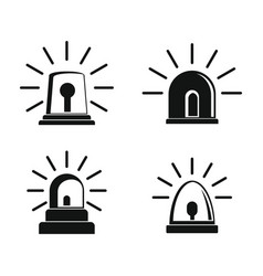 flasher siren icons set simple style vector image