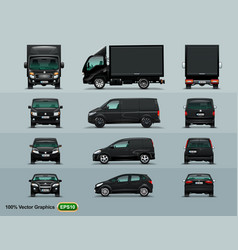 four types of cars to work in the city the layout vector image