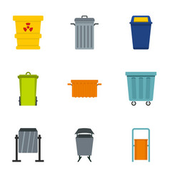 Garbage can icon set flat style vector