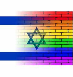 Gay rainbow wall israel flag vector