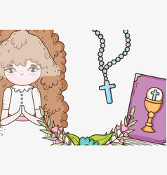 Girl first communion with rosary and bible vector