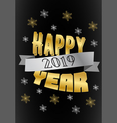 happy new year 2019 background with gold letters vector image