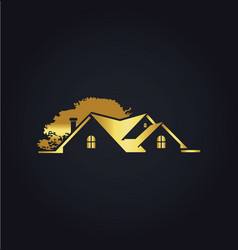 House gold tree garden logo vector