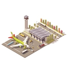 isometric low poly airport terminal vector image