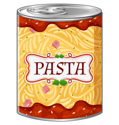 Italian pasta in aluminum can vector