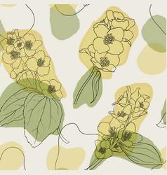 jasmine flowers and leaves vintage seamless vector image