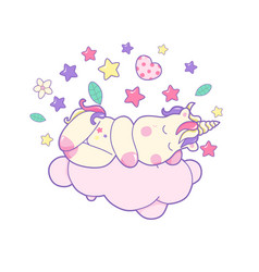 kawaii cute unicorn sleeping sweetly and different vector image