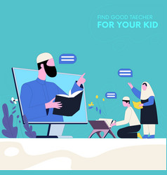 Kids learning quran concept vector