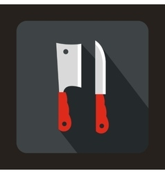 Kitchen knife and meat knife icon flat style vector image