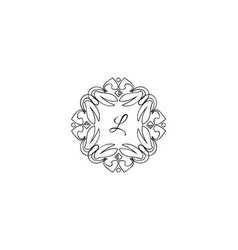 l letter logo monogram design elements line art vector image